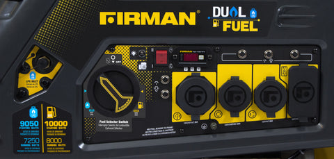 FIRMAN Power Equipment Hybrid Series H08051 8,000/10,000 Watt Dual Fuel Generator w/Electric Start