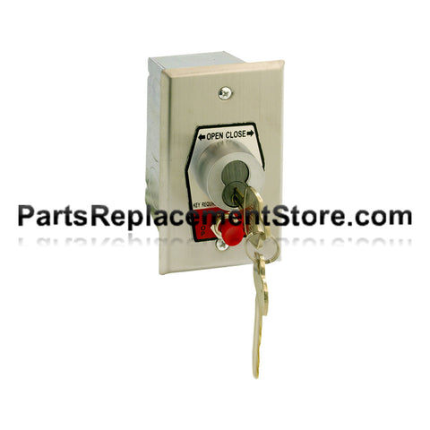 HBFSX-BC Exterior Open-Close Best Cylinder Or Equivalent Key Switch With Stop Button In Single Gang Back Box Flush Mount