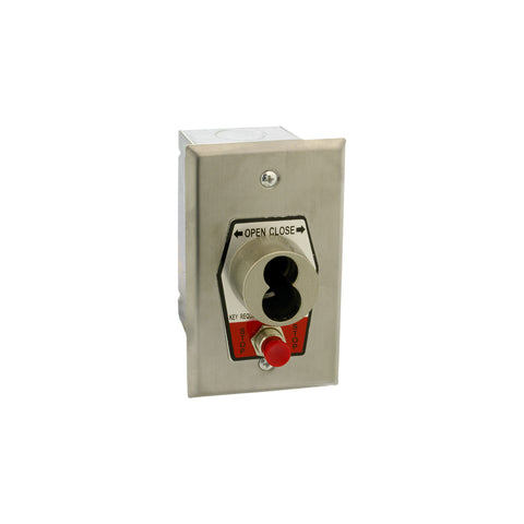HBFSX-SLF Exterior Open-Close S Type Large Format Key Switch With Stop Button In Single Gang Back Box Flush Mount