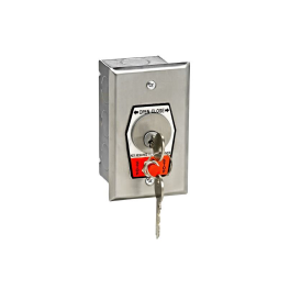HBFSX-CC Exterior Open-Close Changeable Core Cylinder Key Switch With Stop Button In Single Gang Back Box Flush Mount