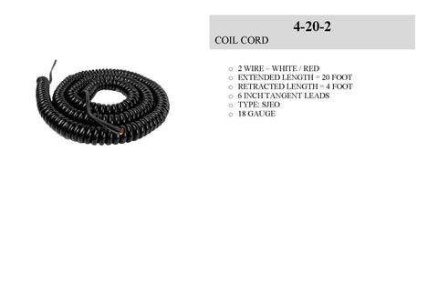 Electronic Control Stations Safety Edge Coil Cord, 2 Wire, 18 gauge, 20 ft Part # COA 4-20-2