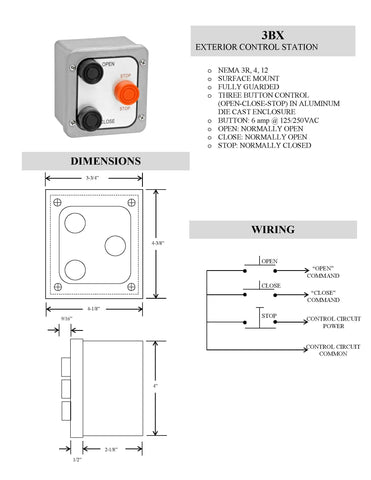 3BX EXTERIOR 3 BUTTON SURFACE MOUNT LOCKOUT CONTROL STATION