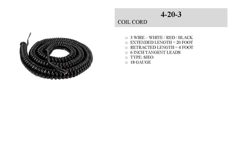 Electronic Control Stations Safety Edge Coil Cord, 3 Wire, 18 gauge, 20 ft Part # COA 4203COIL