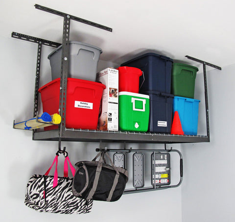 "SafeRacks 3'x6' Overhead Storage Rack 18"" to 33"" drop"