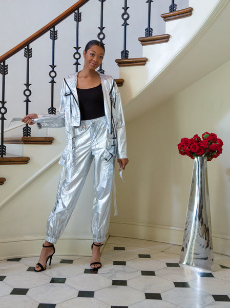 "The ""Metallic Goddess"" Two Piece Set Pants+Jacket"