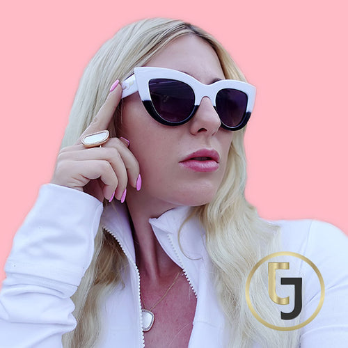 "Julia Jolie Beverly Hills Sunglasses- Exclusive Editon - ""White Summer Babe"""