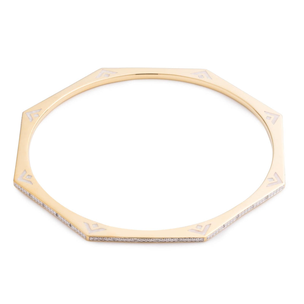 Octagon Diamond Slip Bangle - Yellow Gold