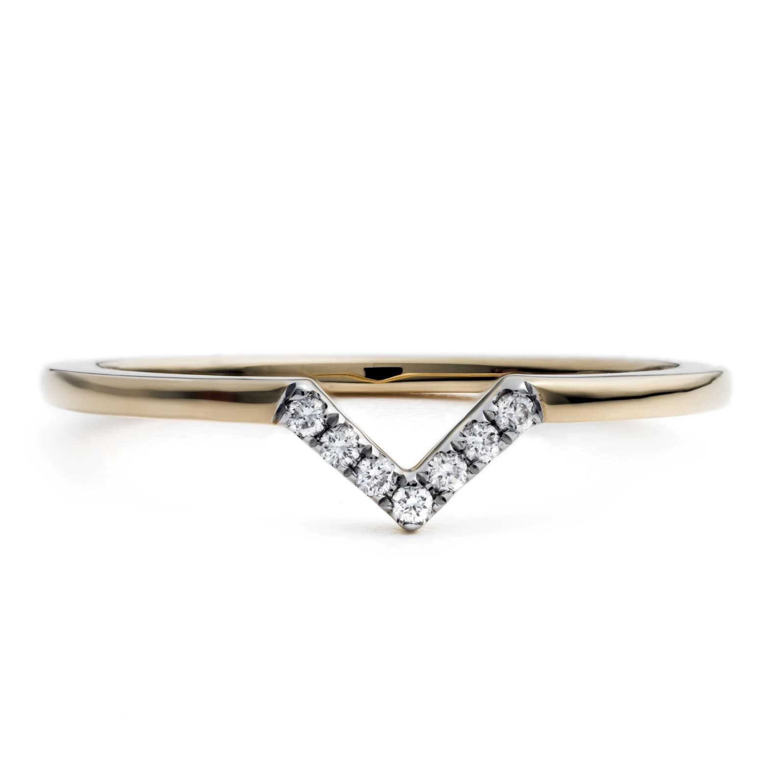 Triangle Dip Stacker Ring 18k Yellow Gold & Full Cut Diamonds