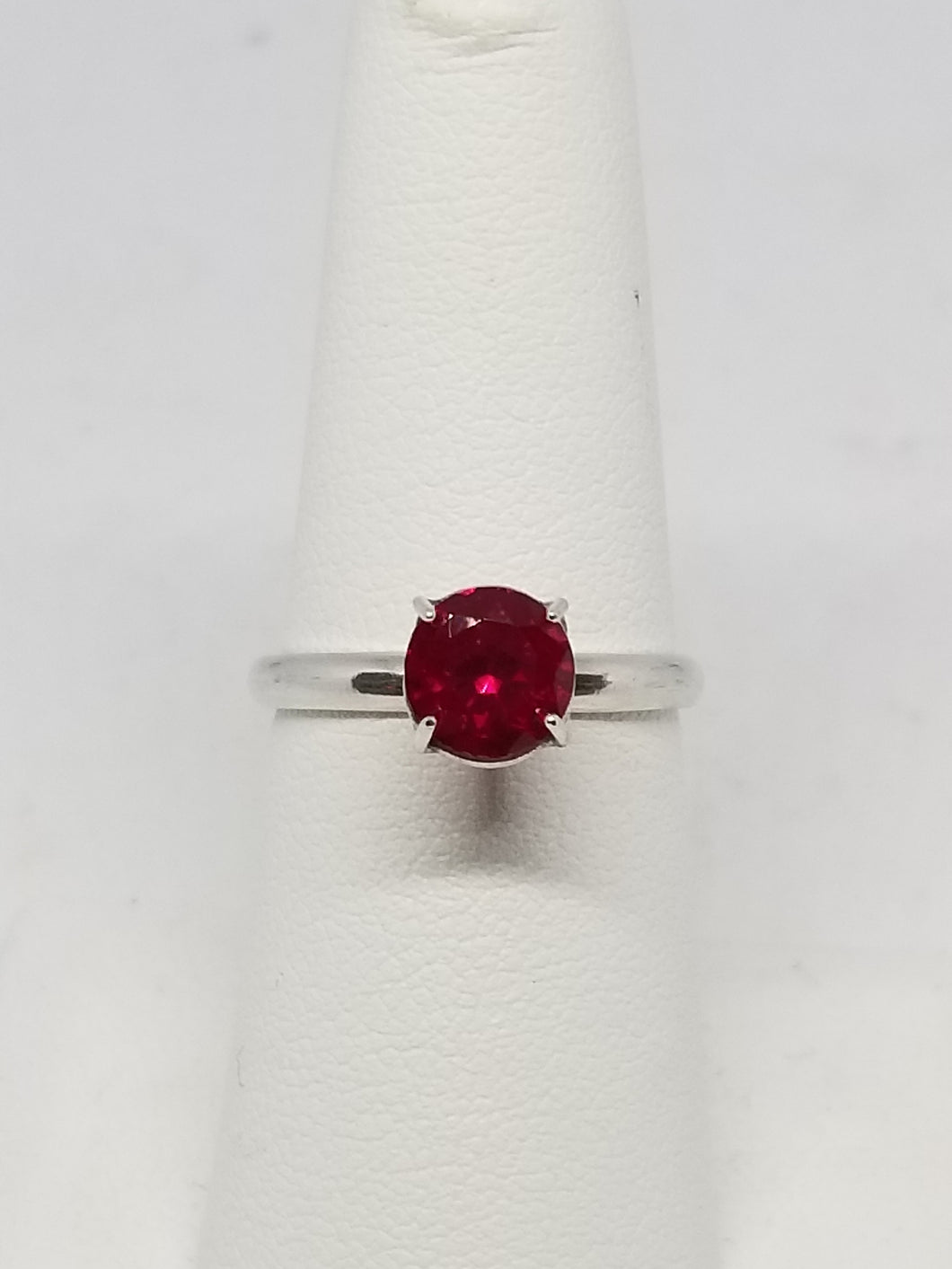 Handmade Sterling Silver Pigeon Blood Ruby Ring