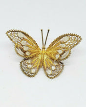 Antique 800 Silver Twist Wire Filigree Gold And White Butterfly Brooch