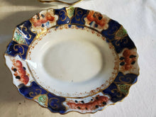 Vintage Royal Stafford China Gold Imari Scalloped Oval Dinner Plates