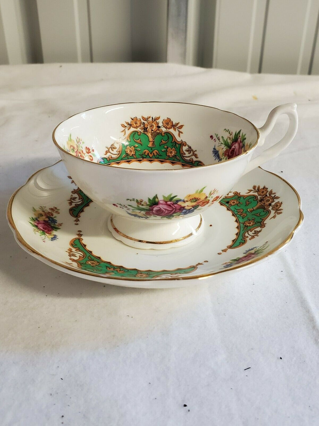 Vintage Dinette Fine Bone China Filigree And Floral Cup And Saucer
