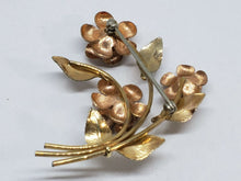 Vintage Krementz Yellow and Rose Gold Tone Rose Bouquet Brooch SIGNED