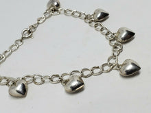 Sterling Silver 7 Charm Puffy Heart Charm Chain Bracelet 7.25""