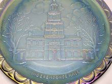 Vintage Fenton Blue Carnival Glass Independence Hall Collectors Plate