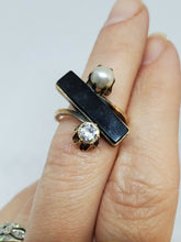 Unique Vintage 14k Yellow Gold Black Onyx, Pearl And Diamond Adjustable Open...