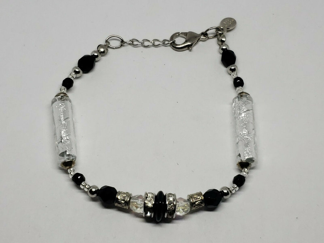 Murano Glass Silver Tone Foil Style Tube*Black And AB Crystal Beads