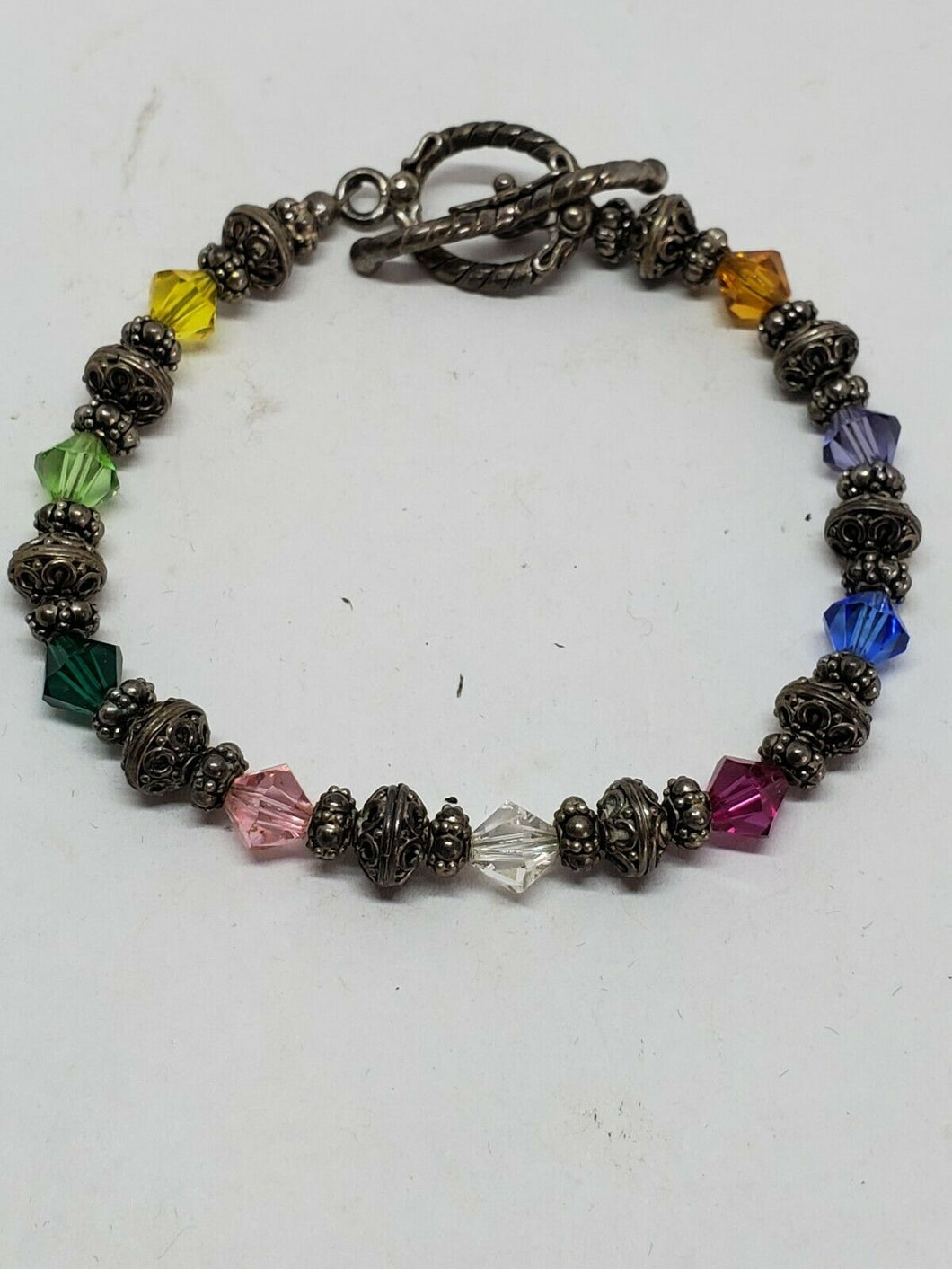 Sterling Silver Handmade Faceted Crystal Bicone And Sterling Bali Bead Bracelet