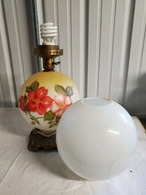 Vintage Gone With The Wind Globe Lamp Hand Painted Flowers Electrified