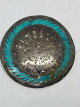 Vintage Sterling Silver Aztec Mexican Turquoise Inlay Etched Pendant Brooch