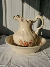 Antique 1887 Ironstone Floral Pitcher And Wash Basin