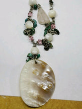 Handmade Mother of Pearl, Rose Quartz and Turquoise Shell Necklace