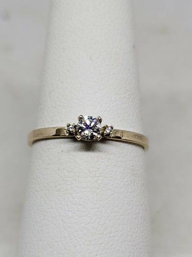 0.14 Carat Handmade 3 Stone 14k Yellow Gold Diamond Ring Size 6