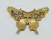 Vintage Goldtone Crystal Rainbow Butterfly Brooch