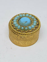 Vintage Gold Tone Faux Turquoise Filigree Floral Pill Box