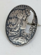 Vintage Sterling Silver Art Nouveau Cut Out Lady Cameo Style Brooch Pendant