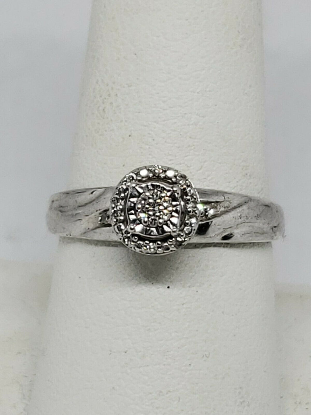 Affinity Diamonds Sterling Silver White Diamond Halo Cluster Promise Ring