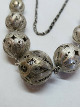 Vintage Sterling Silver Heavy Filigree Ball Link Necklace 80.84g