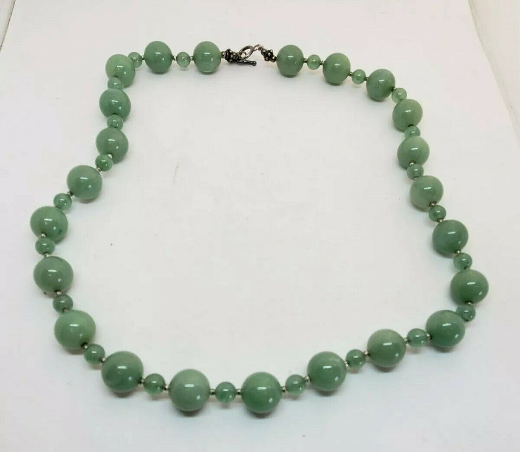 Sterling Silver Jadite Green Jade Single Strand Necklace Alternating Sized Beads