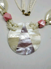 Vintage Mother of Pearl Large Pendant Necklace
