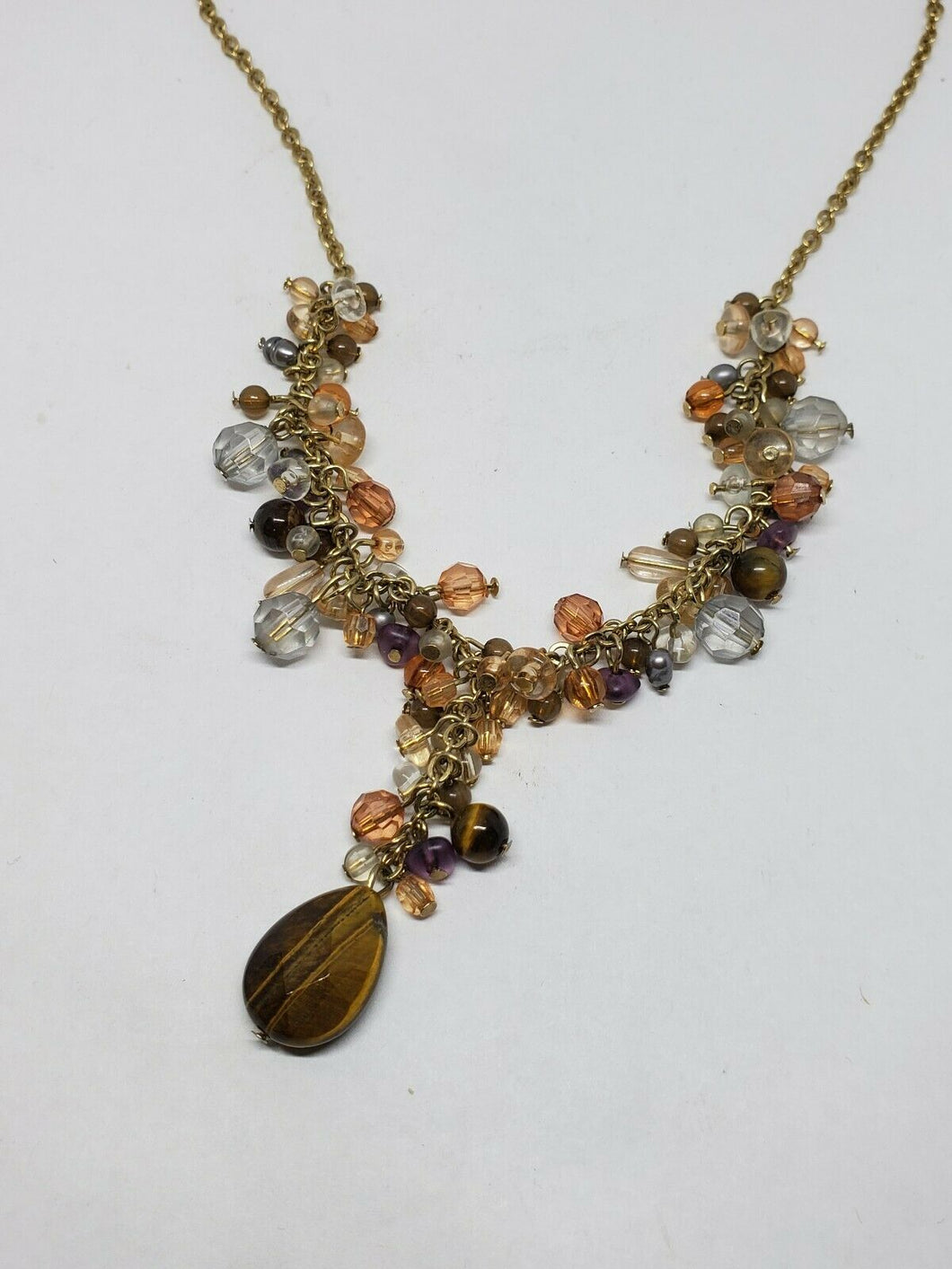 Avon Genuine Gemstone Gold Tone Cluster Y Necklace Adjustable Length