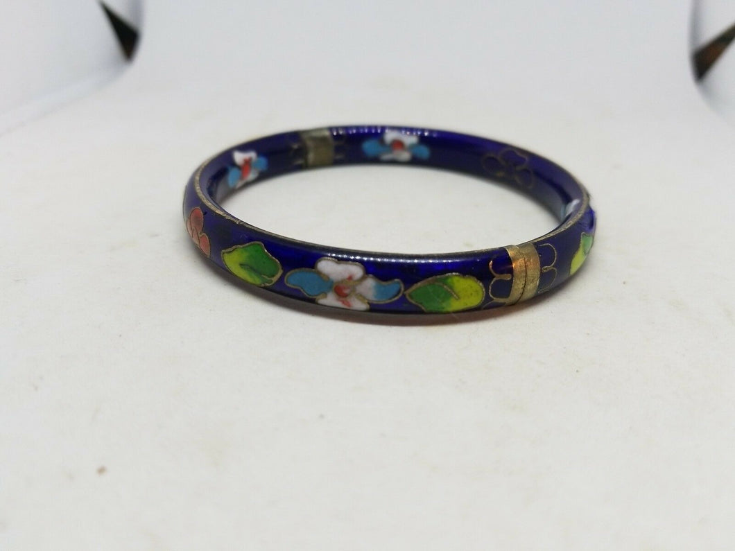 Vintage Japan Cliosonne Hinged Bangle Bracelet