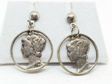 1944 90% Silver Mercury Dime Cut Out Pierced Work Stud Earrings