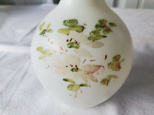 Vintage Hand Painted Flowers White Small Bud Vase Milk Glass