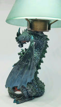 "Westland Giftware Dragon Candle Tealight Holder with Blue Glass ""Lamp Shade"""