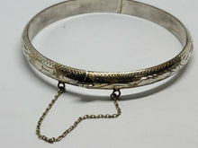 Vintage Mexico Sterling Silver Hand Etched Hinged Bangle Bracelet