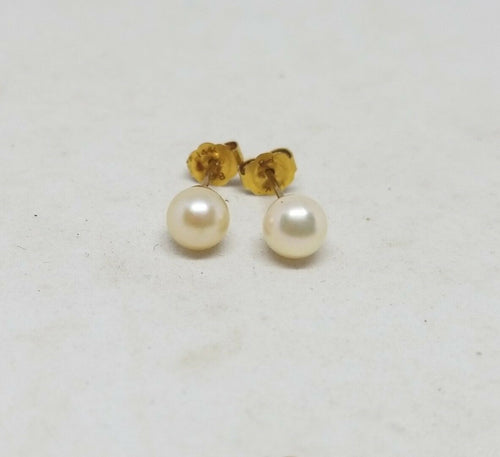 14k Yellow Gold 5.2mm Cultured Freshwater Pearl Stud Earrings