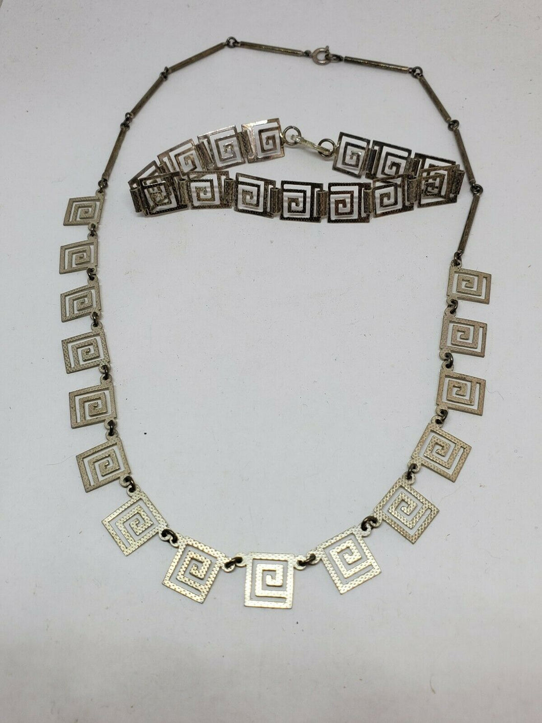 Sterling Silver Greek Key Square Swirl Necklace and Bracelet M35-925
