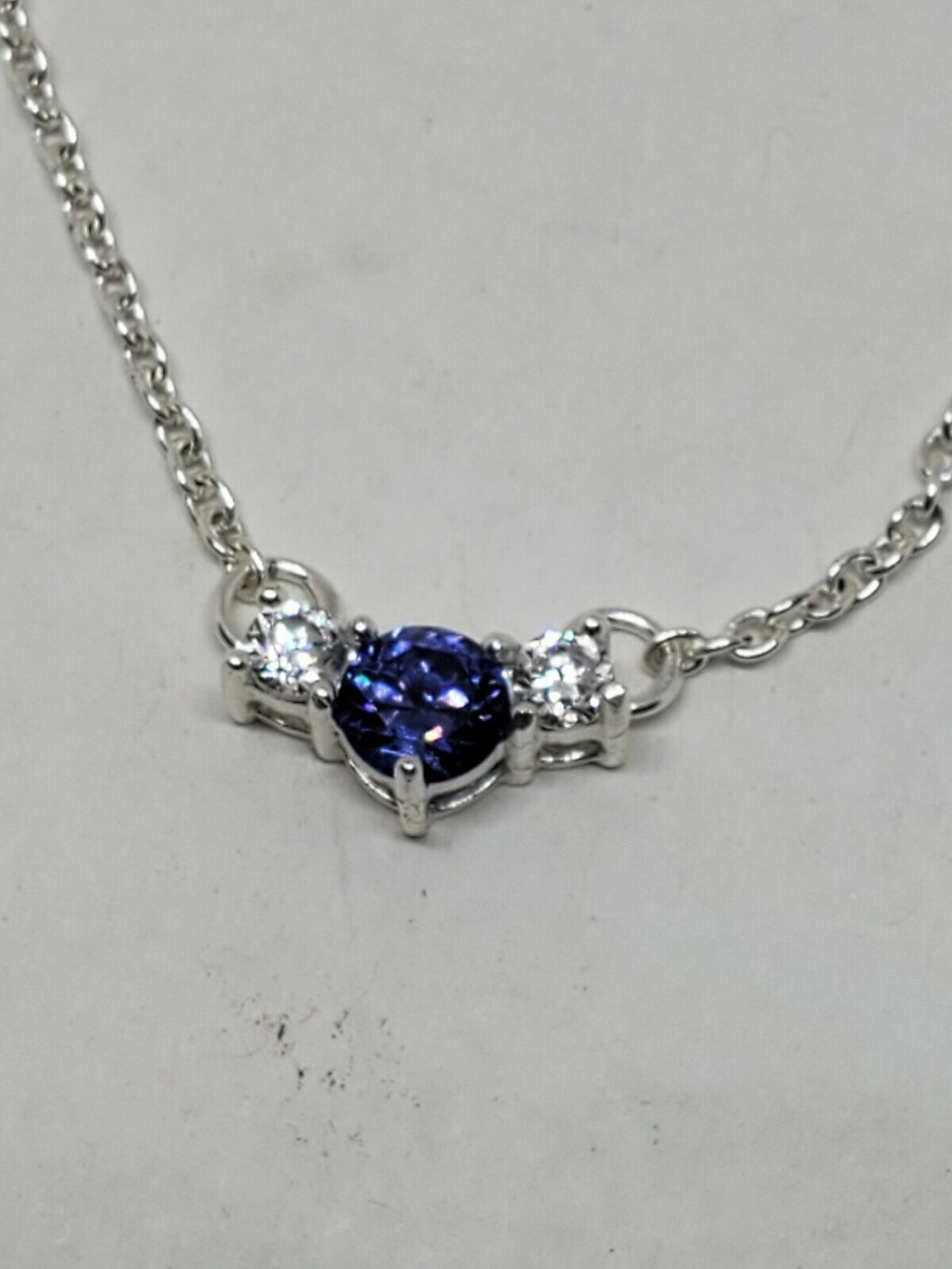 Orfevrerie Wiskemann Sterling Silver Iolite And White Cubic Zirconia Necklace
