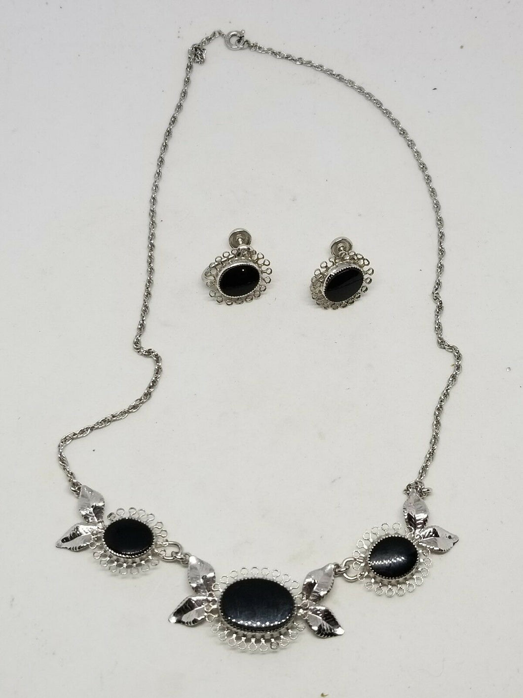 Vintage Star Art Sterling Silver Black Onyx Necklace and Earrings Set
