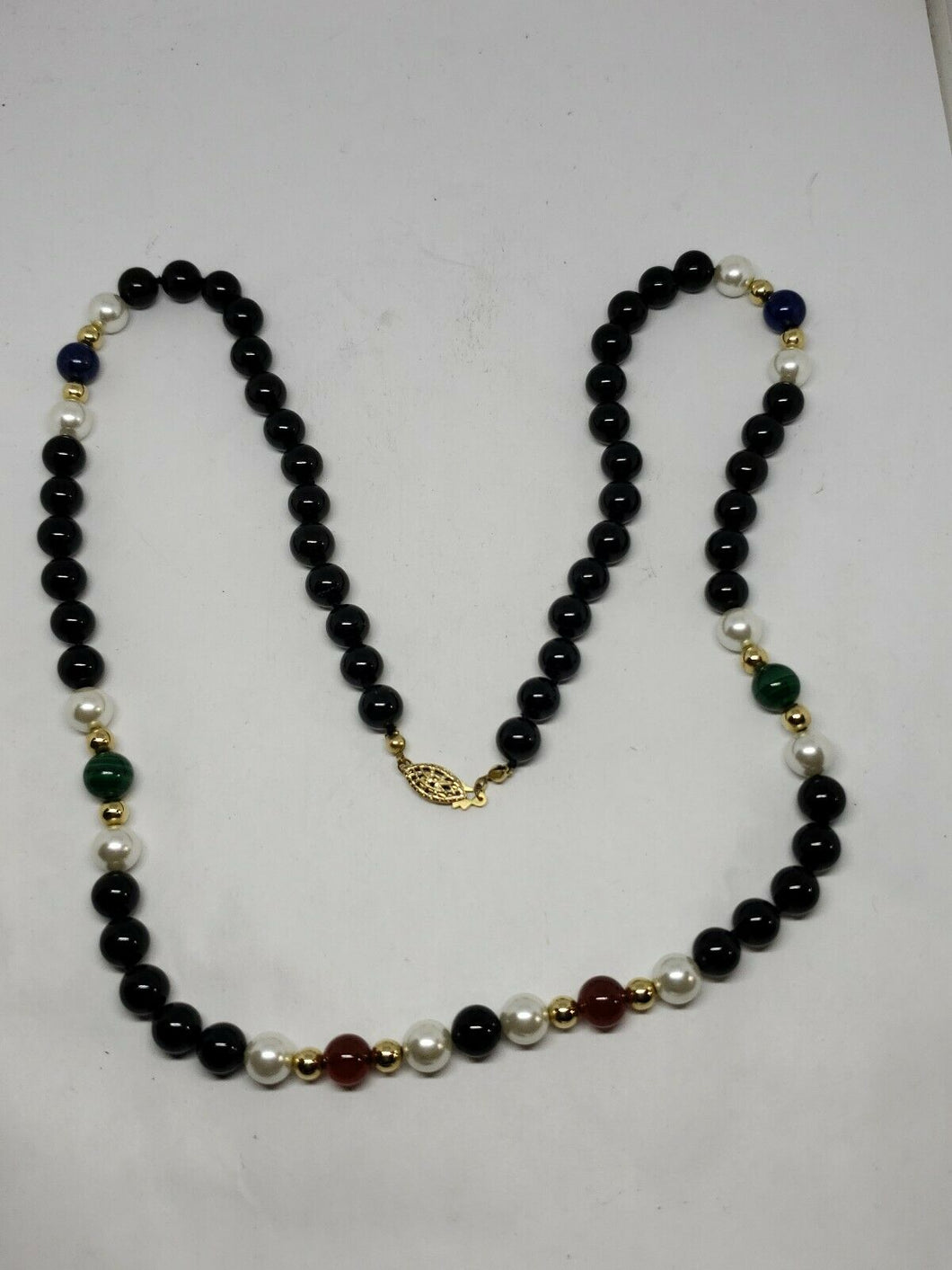 Vintage 1/20 14k Gold Filled Black Onyx Multistone Beaded Strand Necklace 26