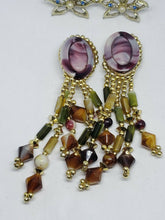 Vintage Mixed Earrings Lot Clip Screwback Agate, Beaded Gold Tone Faux Pearl