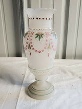 Antique Frosted Bristol Glass Hand Painted Hand Blown Floral Vase **Cracked**