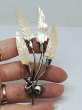 Large Vintage Sterling Silver Mother Of Pearl Leaf Bouquet Bow Brooch
