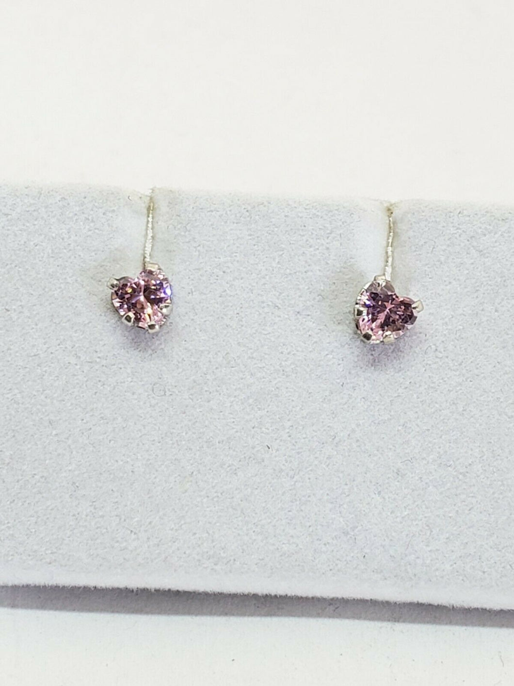 Sterling Silver Pink Heart Crystal Stud Earrings