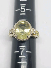 5.0 Carat Citrine Sterling Silver Gold Plated White Topaz Filigree Ring